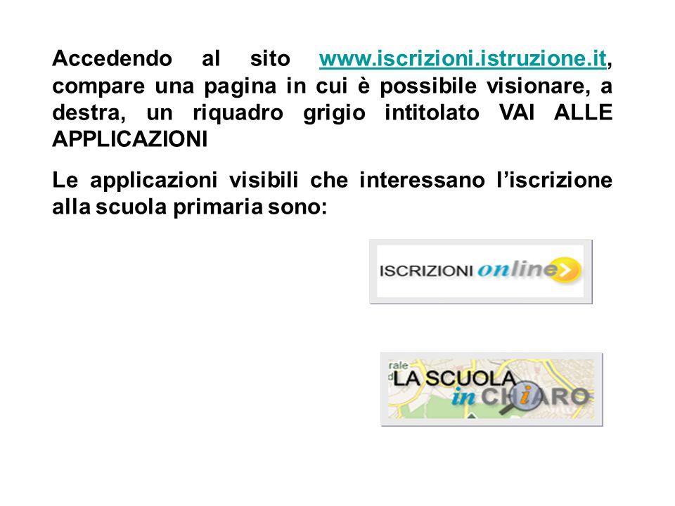 Accedendo al sito www.iscrizioni.istruzione.it, compare una pagina in cui è possibile visionare, a destra, un riquadro grigio intitolato VAI ALLE APPL