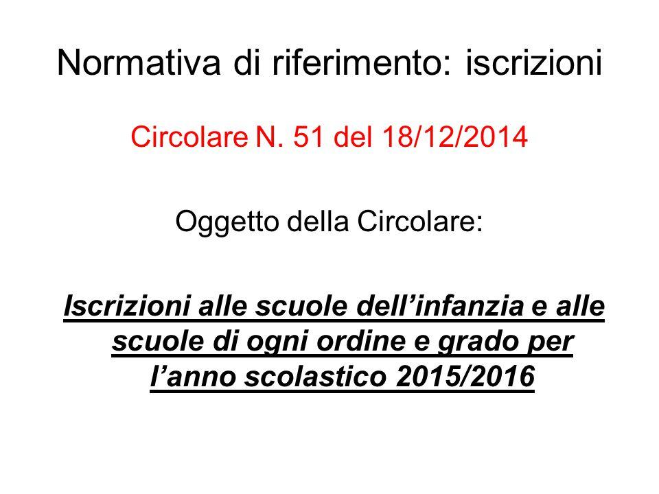 Normativa di riferimento: iscrizioni Circolare N. 51 del 18/12/2014 Oggetto della Circolare: Iscrizioni alle scuole dell'infanzia e alle scuole di ogn