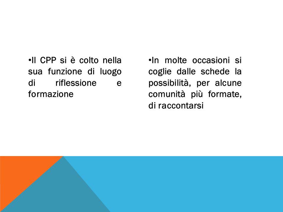 Il CPP si è colto nella sua funzione di luogo di riflessione e formazione In molte occasioni si coglie dalle schede la possibilità, per alcune comunità più formate, di raccontarsi