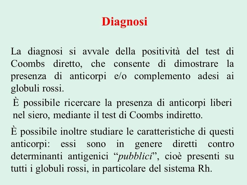 Diagnosi La diagnosi si avvale della positività del test di Coombs diretto, che consente di dimostrare la presenza di anticorpi e/o complemento adesi