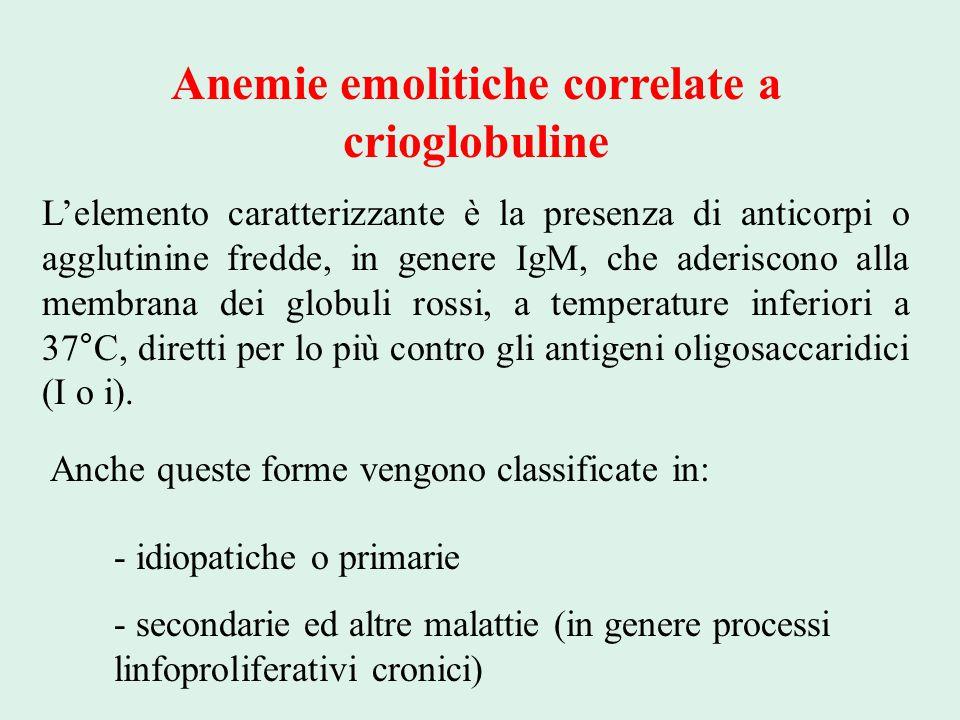 Anemie emolitiche correlate a crioglobuline L'elemento caratterizzante è la presenza di anticorpi o agglutinine fredde, in genere IgM, che aderiscono