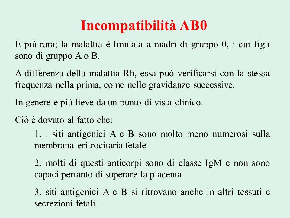 Incompatibilità AB0 È più rara; la malattia è limitata a madri di gruppo 0, i cui figli sono di gruppo A o B. A differenza della malattia Rh, essa può