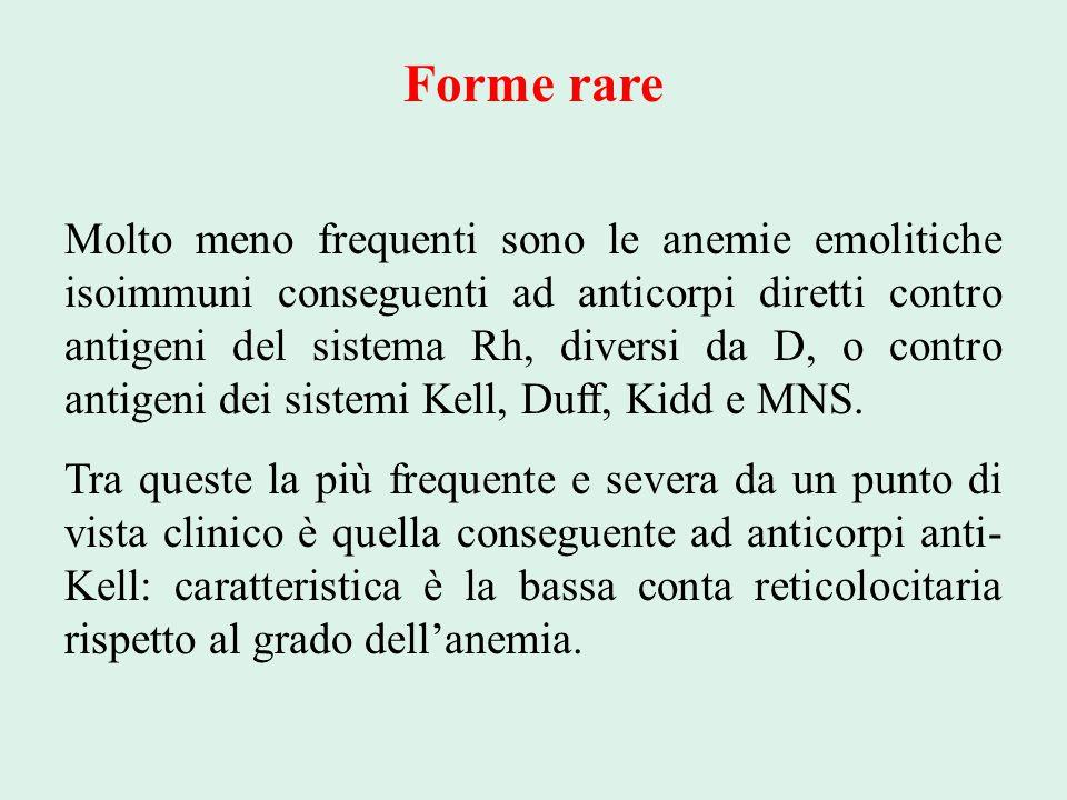 Forme rare Molto meno frequenti sono le anemie emolitiche isoimmuni conseguenti ad anticorpi diretti contro antigeni del sistema Rh, diversi da D, o c