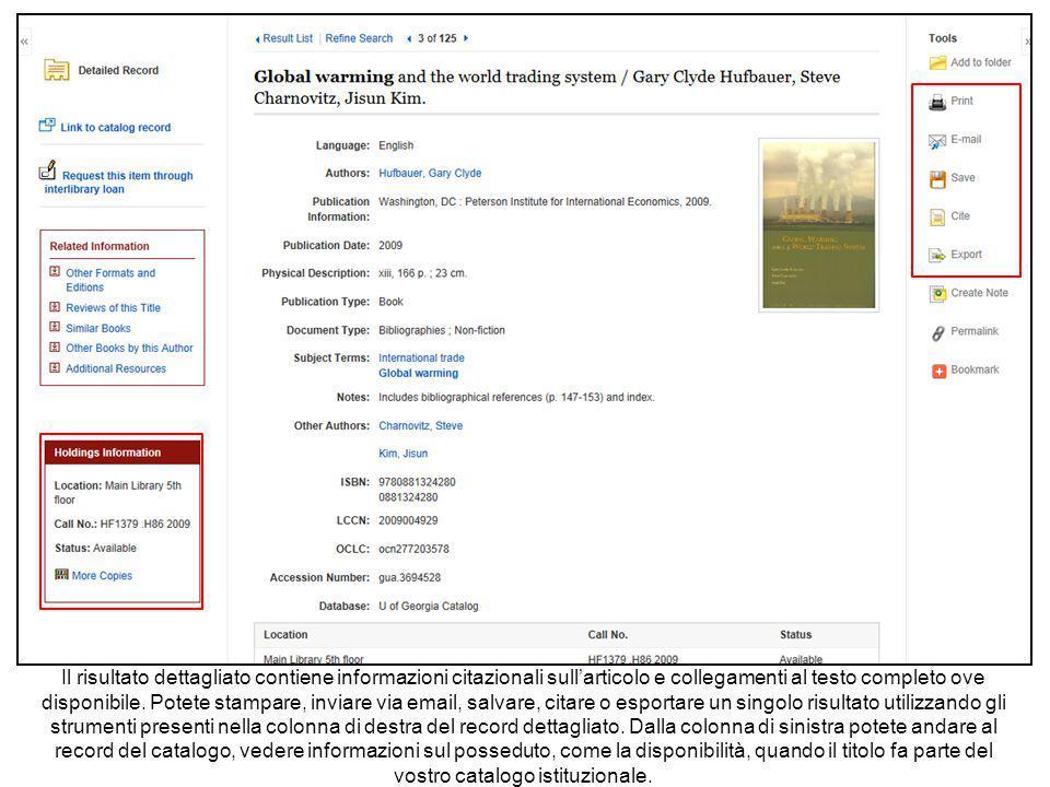 Il risultato dettagliato contiene informazioni citazionali sull'articolo e collegamenti al testo completo ove disponibile.