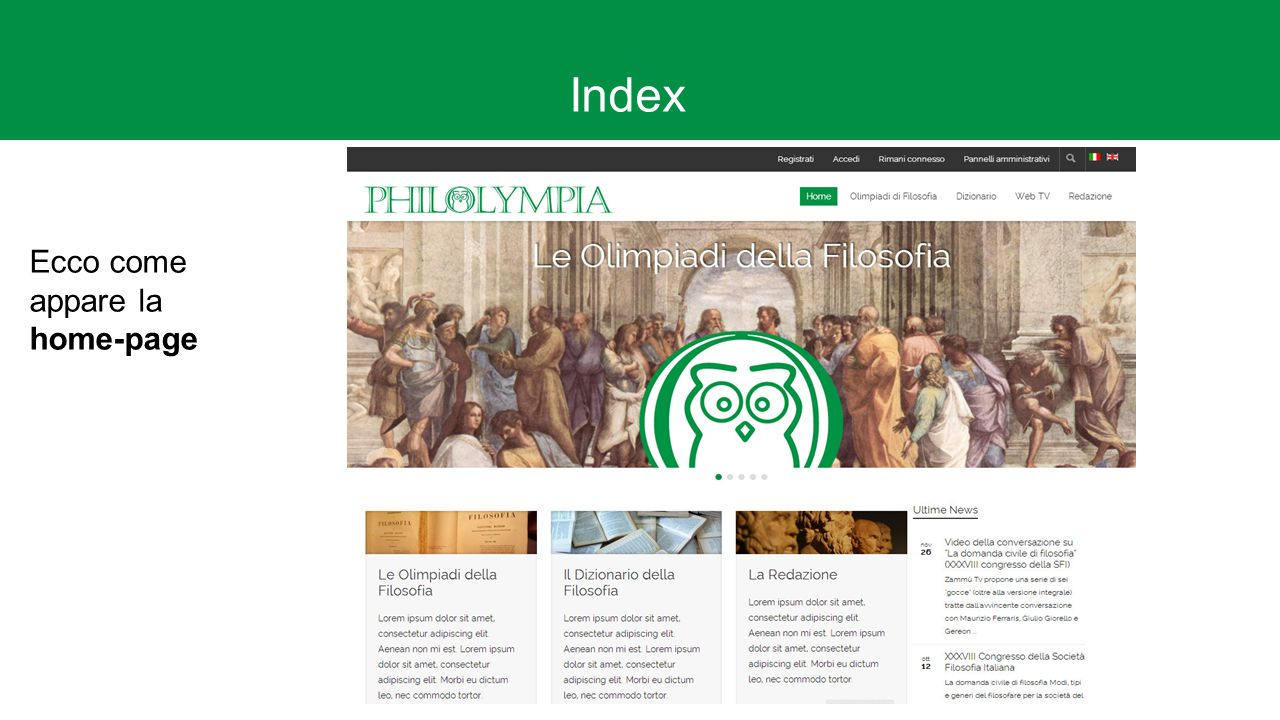 Index Ecco come appare la home-page