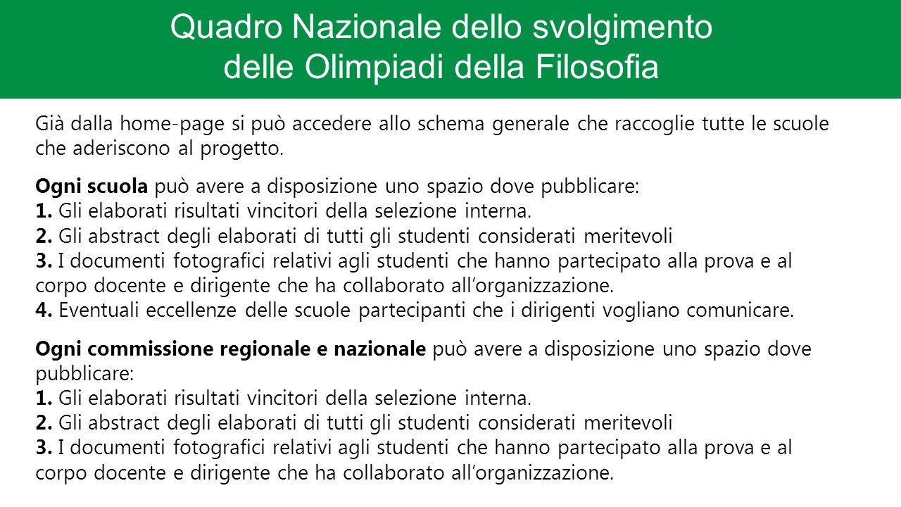 Quadro Nazionale dello svolgimento delle Olimpiadi della Filosofia Già dalla home-page si può accedere allo schema generale che raccoglie tutte le scuole che aderiscono al progetto.