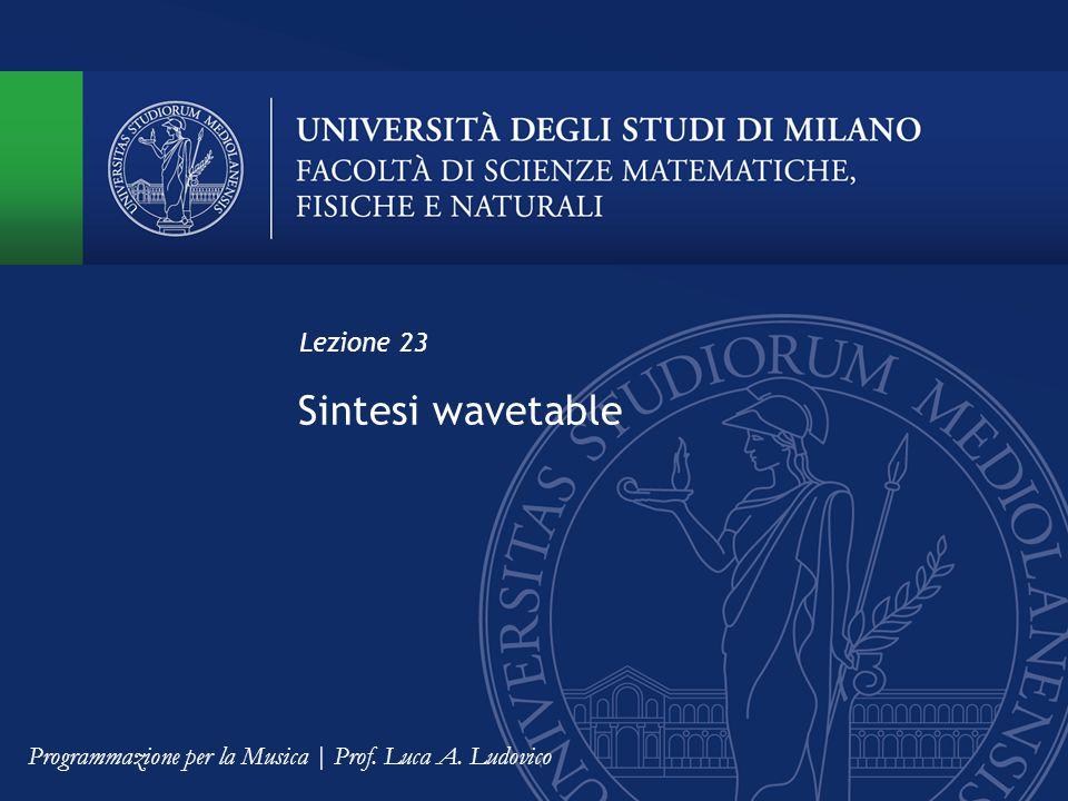 Sintesi wavetable Lezione 23 Programmazione per la Musica | Prof. Luca A. Ludovico