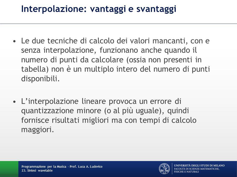 Programmazione per la Musica - Prof. Luca A. Ludovico 23. Sintesi wavetable Interpolazione: vantaggi e svantaggi Le due tecniche di calcolo dei valori