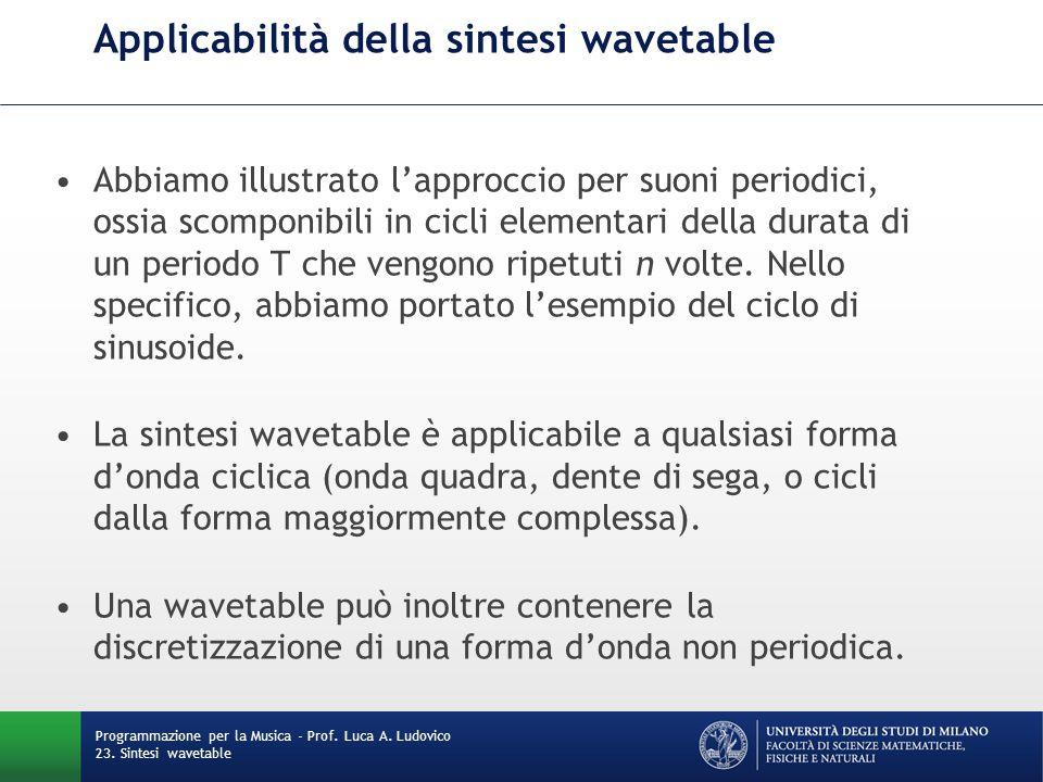 Programmazione per la Musica - Prof. Luca A. Ludovico 23. Sintesi wavetable Applicabilità della sintesi wavetable Abbiamo illustrato l'approccio per s