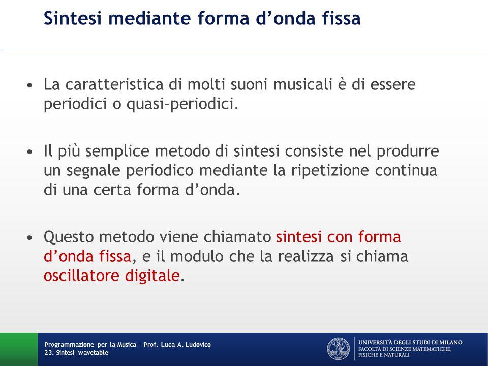 Programmazione per la Musica - Prof. Luca A. Ludovico 23. Sintesi wavetable Sintesi mediante forma d'onda fissa La caratteristica di molti suoni music