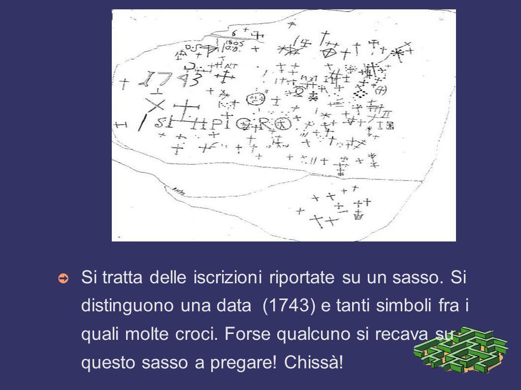s ➲ Si tratta delle iscrizioni riportate su un sasso. Si distinguono una data (1743) e tanti simboli fra i quali molte croci. Forse qualcuno si recava
