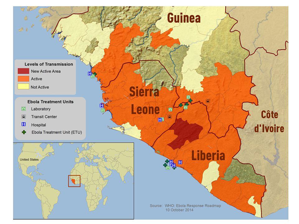 L'epidemia in corso nella Repubblica Democratica del Congo (ex Zaire) è indipendente e non correlata a quella ancora in corso nell'Africa occidentale ed è limitata alla Provincia Equateur Al 24 settembre: 70 casi 42 morti Fonte WHO 26.09.2014