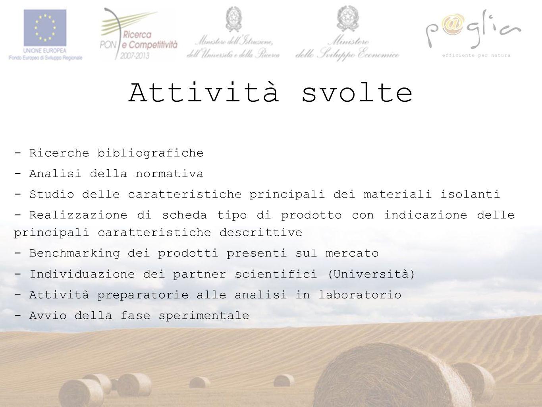 Attività svolte - Ricerche bibliografiche - Analisi della normativa - Studio delle caratteristiche principali dei materiali isolanti - Realizzazione d