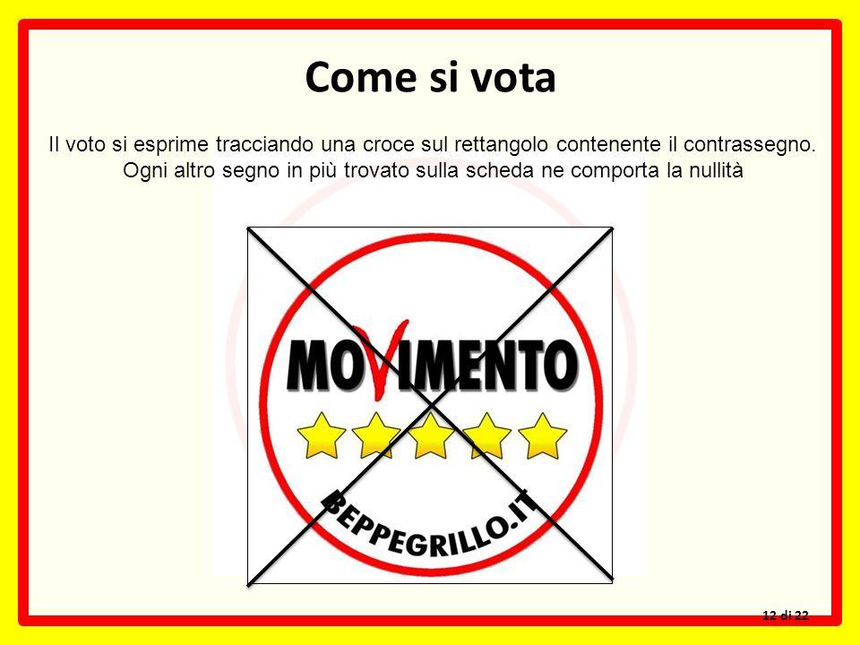 Come si vota Il voto si esprime tracciando una croce sul rettangolo contenente il contrassegno. Ogni altro segno in più trovato sulla scheda ne compor