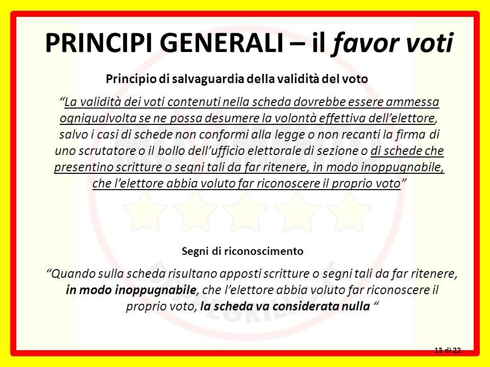 """PRINCIPI GENERALI – il favor voti Principio di salvaguardia della validità del voto """"La validità dei voti contenuti nella scheda dovrebbe essere ammes"""