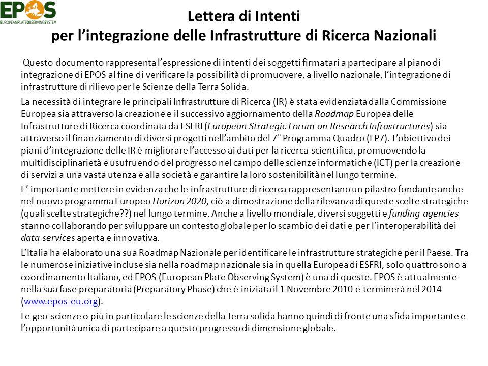 Lettera di Intenti per l'integrazione delle Infrastrutture di Ricerca Nazionali Questo documento rappresenta l'espressione di intenti dei soggetti fir