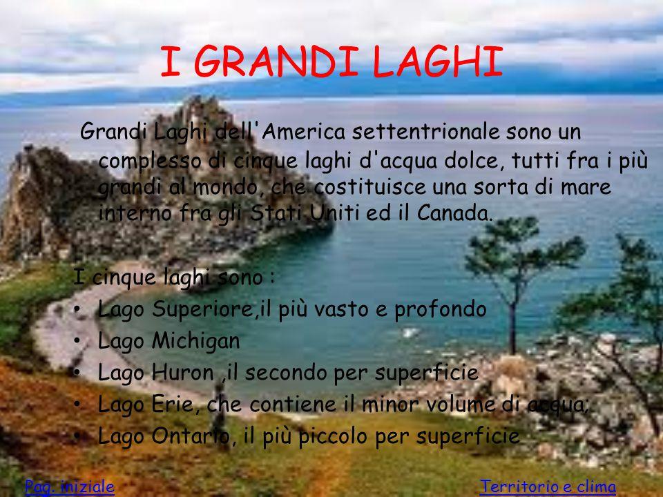 I GRANDI LAGHI Grandi Laghi dell'America settentrionale sono un complesso di cinque laghi d'acqua dolce, tutti fra i più grandi al mondo, che costitui