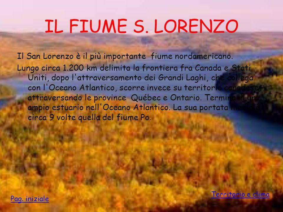 IL FIUME S. LORENZO Il San Lorenzo è il più importante fiume nordamericano. Lungo circa 1.200 km delimita la frontiera fra Canada e Stati Uniti, dopo