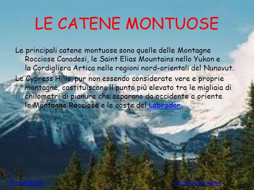 LE CATENE MONTUOSE Le principali catene montuose sono quelle delle Montagne Rocciose Canadesi, le Saint Elias Mountains nello Yukon e la Cordigliera A