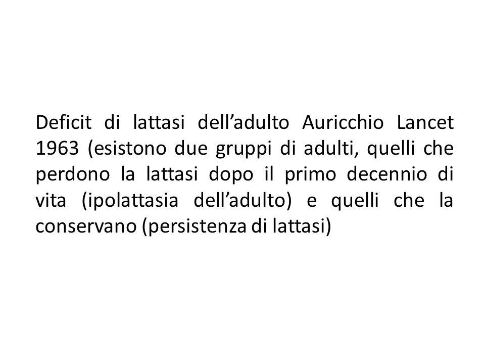 Deficit di lattasi dell'adulto Auricchio Lancet 1963 (esistono due gruppi di adulti, quelli che perdono la lattasi dopo il primo decennio di vita (ipo