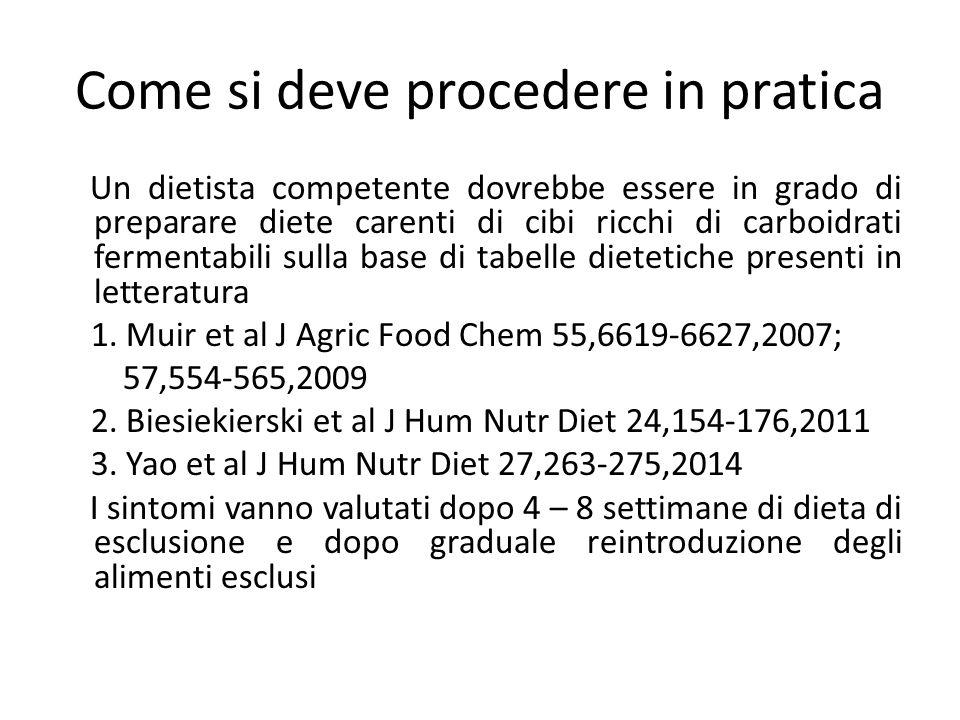 Come si deve procedere in pratica Un dietista competente dovrebbe essere in grado di preparare diete carenti di cibi ricchi di carboidrati fermentabil