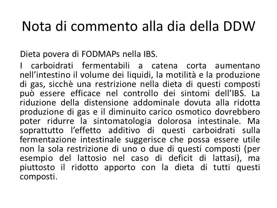 Nota di commento alla dia della DDW Dieta povera di FODMAPs nella IBS. I carboidrati fermentabili a catena corta aumentano nell'intestino il volume de