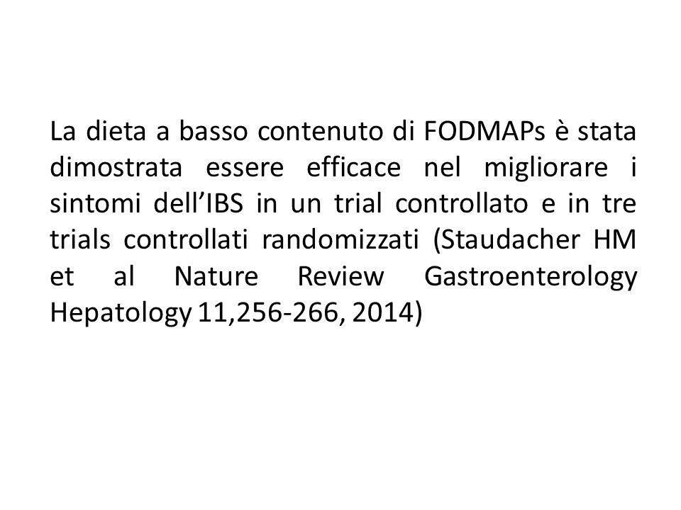 La dieta a basso contenuto di FODMAPs è stata dimostrata essere efficace nel migliorare i sintomi dell'IBS in un trial controllato e in tre trials con