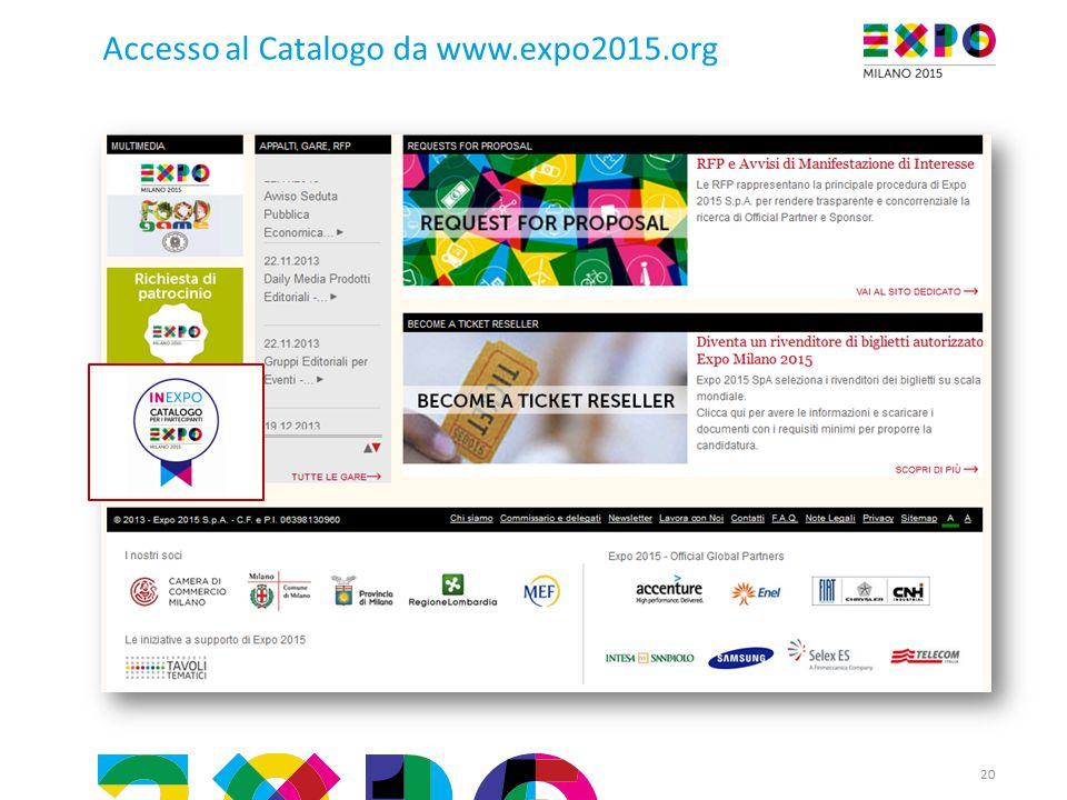 20 Accesso al Catalogo da www.expo2015.org