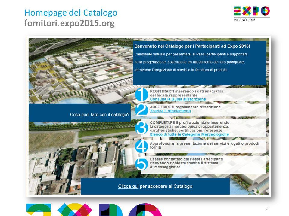 21 Homepage del Catalogo fornitori.expo2015.org