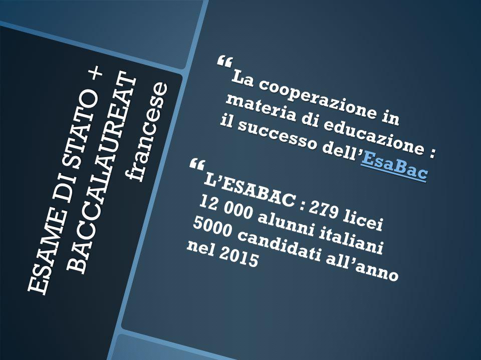ESAME DI STATO + BACCALAUREAT francese  La cooperazione in materia di educazione : il successo dell'EsaBac EsaBac   L'ESABAC : 279 licei 12 000 alu