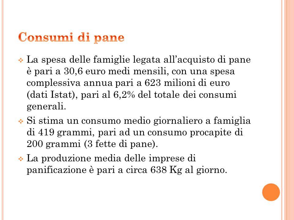  La spesa delle famiglie legata all'acquisto di pane è pari a 30,6 euro medi mensili, con una spesa complessiva annua pari a 623 milioni di euro (dati Istat), pari al 6,2% del totale dei consumi generali.