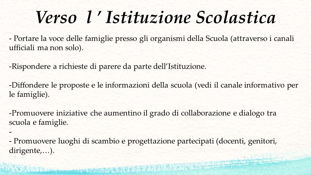Verso l ' Istituzione Scolastica - Portare la voce delle famiglie presso gli organismi della Scuola (attraverso i canali ufficiali ma non solo). -Risp