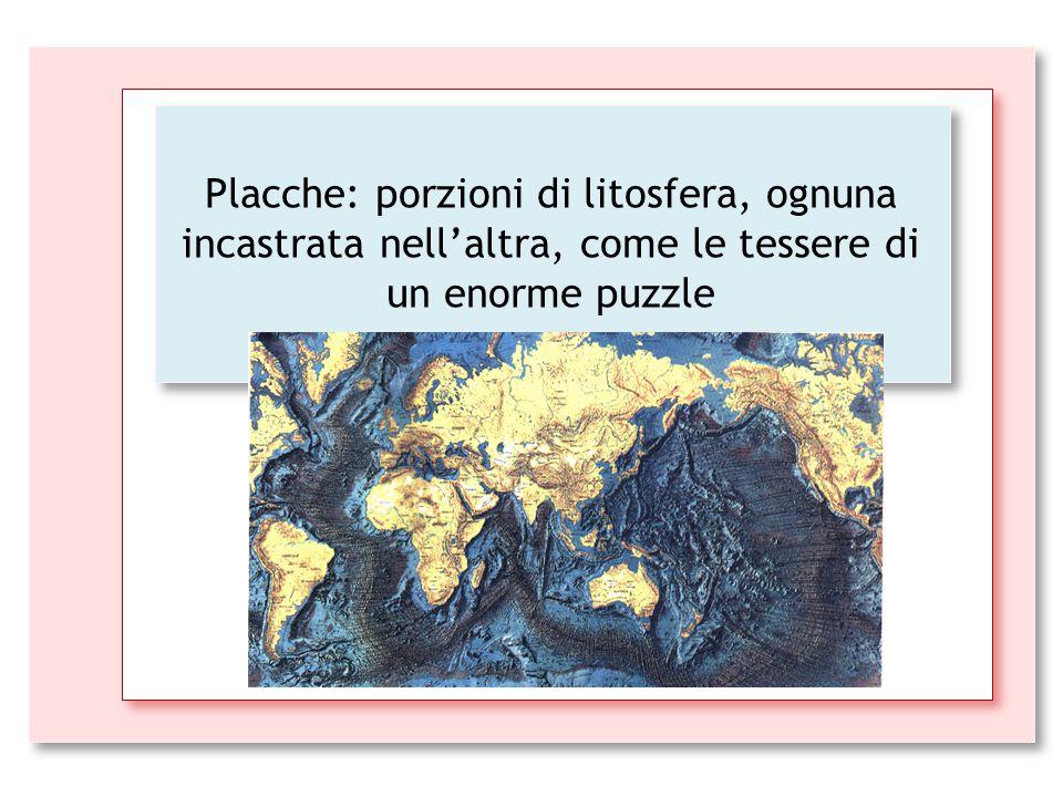 Placche: porzioni di litosfera, ognuna incastrata nell'altra, come le tessere di un enorme puzzle