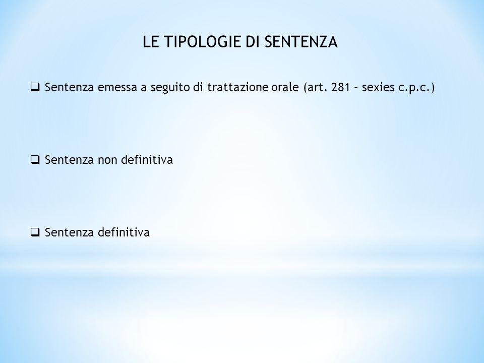 CONTENUTO DELLA SENTENZA ACCERTAMENTO CONDANNA REGOLAMENTO DELLE SPESE DI LITE