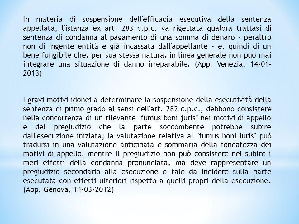 SPECIFICITA' DEI MOTIVI DI APPELLO Art.342 c.p.c.