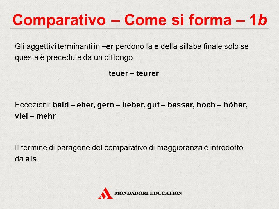 Comparativo – Come si forma – 1b Gli aggettivi terminanti in –er perdono la e della sillaba finale solo se questa è preceduta da un dittongo. teuer –