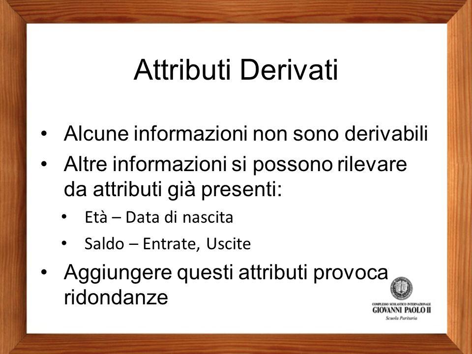 Attributi Derivati Alcune informazioni non sono derivabili Altre informazioni si possono rilevare da attributi già presenti: Età – Data di nascita Sal