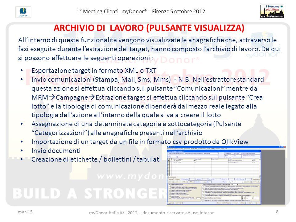1° Meeting Clienti myDonor® - Firenze 5 ottobre 2012 ARCHIVIO DI LAVORO (PULSANTE VISUALIZZA) All'interno di questa funzionalità vengono visualizzate le anagrafiche che, attraverso le fasi eseguite durante l'estrazione del target, hanno composto l'archivio di lavoro.