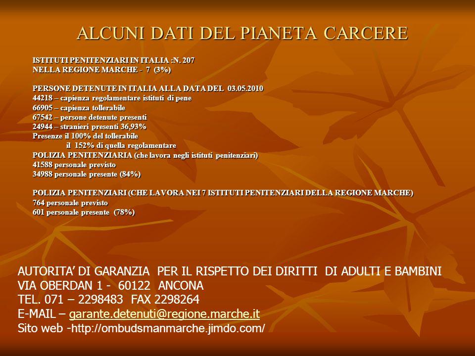 ALCUNI DATI DEL PIANETA CARCERE ISTITUTI PENITENZIARI IN ITALIA :N.