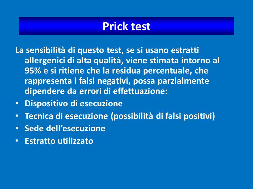 Prick test La sensibilità di questo test, se si usano estratti allergenici di alta qualità, viene stimata intorno al 95% e si ritiene che la residua p