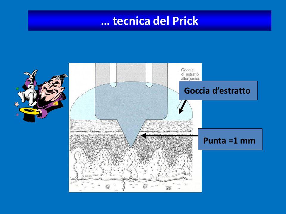  I test con Estratti Allergenici di Alimenti sono meno affidabili in quanto: sono meno affidabili in quanto:  le sindromi reattive da alimenti possono essere: - a patogenesi extraimmunologica (pseudoallergie sindrome - a patogenesi extraimmunologica (pseudoallergie sindrome sgombroide) sgombroide) - nei casi a patogenesi immunologica, non sempre sono - nei casi a patogenesi immunologica, non sempre sono presenti reazioni IgE mediate, presenti reazioni IgE mediate,  l'alimento ingerito viene modificato e degradato nel processo digestivo, acquisendo proprietà allergenica nel processo digestivo, acquisendo proprietà allergenica specifica differente da quella originaria, specifica differente da quella originaria,  gli allergeni alimentari sono molto labili e perdono la loro attività con i processi di conservazione e cottura (in questo caso può risultare positivo il prick by prick con l'alimento fresco).