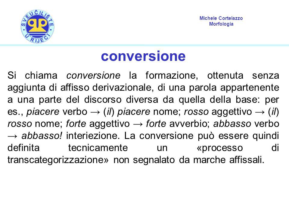 Michele Cortelazzo Morfologia conversione Si chiama conversione la formazione, ottenuta senza aggiunta di affisso derivazionale, di una parola apparte