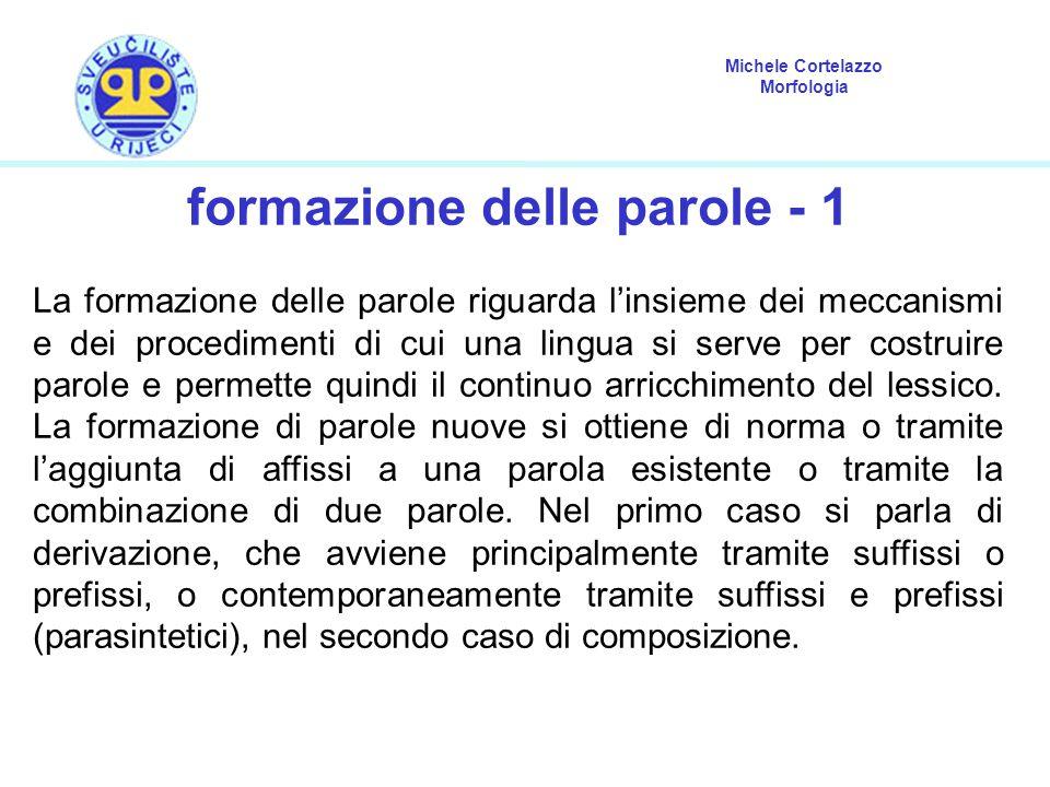 Michele Cortelazzo Morfologia formazione delle parole - 1 La formazione delle parole riguarda l'insieme dei meccanismi e dei procedimenti di cui una l