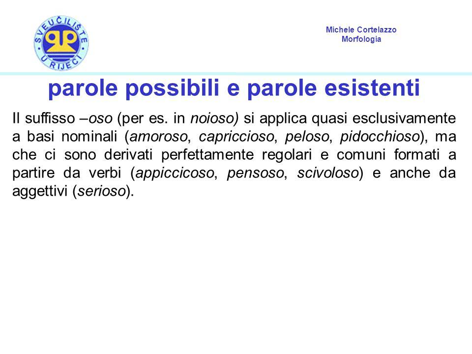 Michele Cortelazzo Morfologia parole possibili e parole esistenti Il suffisso –oso (per es. in noioso) si applica quasi esclusivamente a basi nominali