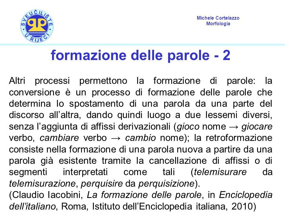 Michele Cortelazzo Morfologia formazione delle parole - 2 Altri processi permettono la formazione di parole: la conversione è un processo di formazion