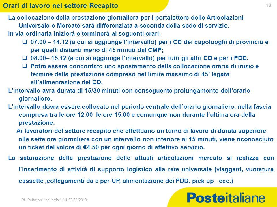30/03/2015 RI- Relazioni Industriali CN 08/09/2010 La collocazione della prestazione giornaliera per i portalettere delle Articolazioni Universale e M