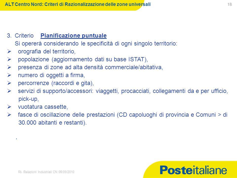 30/03/2015 RI- Relazioni Industriali CN 08/09/2010 18 18. ALT Centro Nord: Criteri di Razionalizzazione delle zone universali 3.Criterio Pianificazion