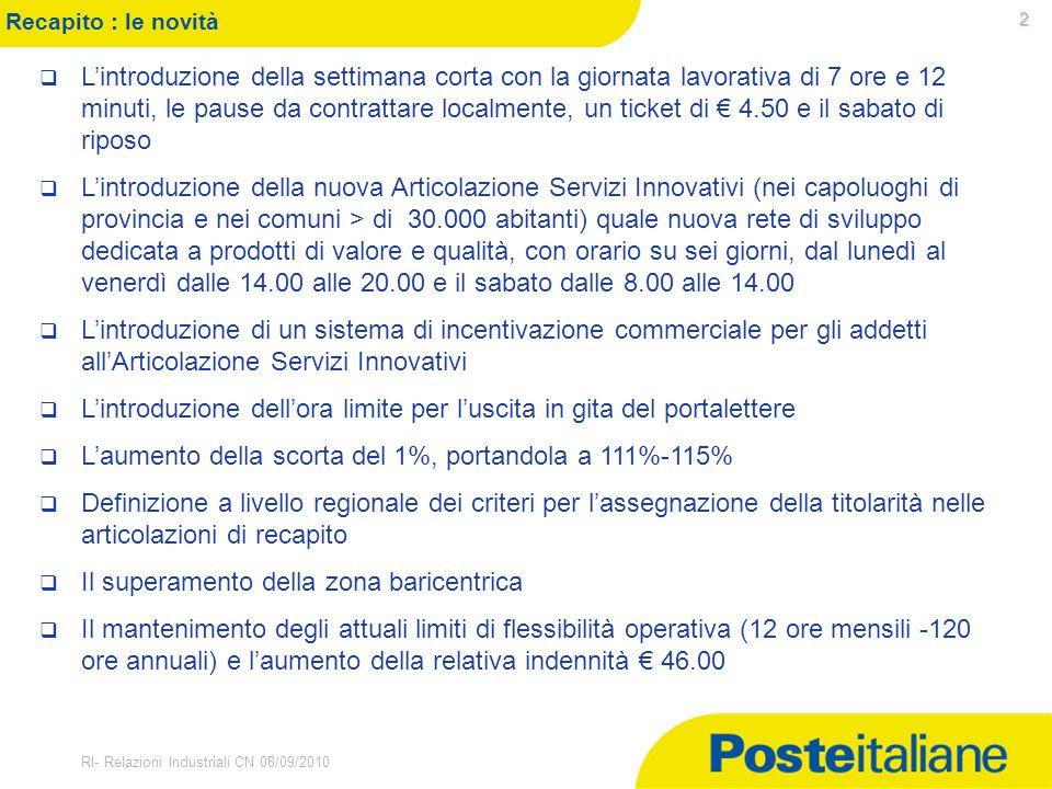 30/03/2015 RI- Relazioni Industriali CN 08/09/2010 2 Recapito : le novità  L'introduzione della settimana corta con la giornata lavorativa di 7 ore e
