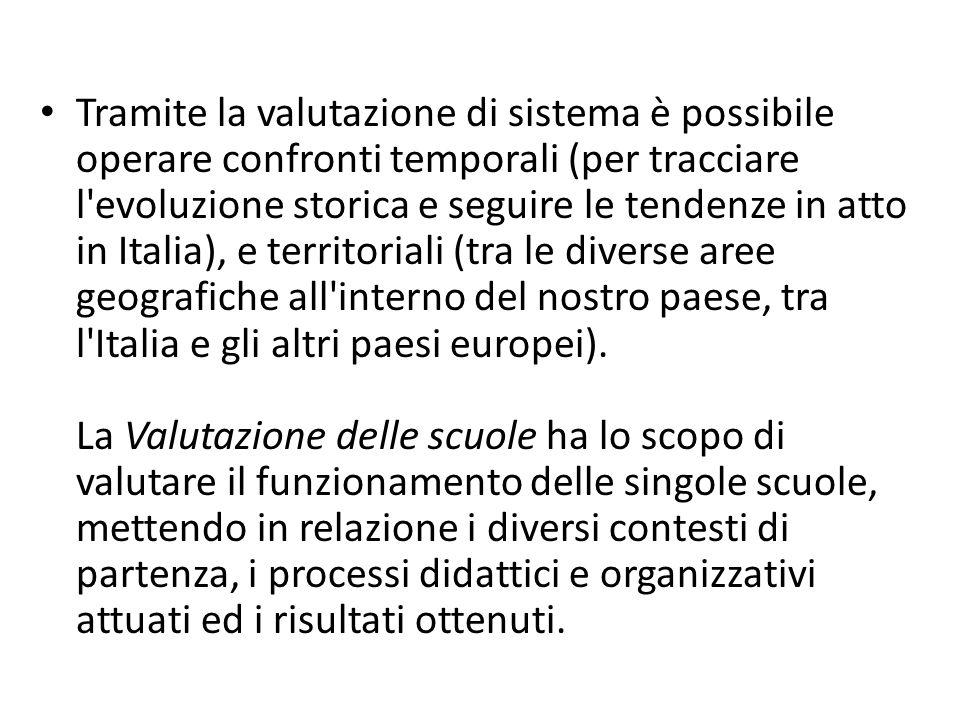 Tramite la valutazione di sistema è possibile operare confronti temporali (per tracciare l evoluzione storica e seguire le tendenze in atto in Italia), e territoriali (tra le diverse aree geografiche all interno del nostro paese, tra l Italia e gli altri paesi europei).