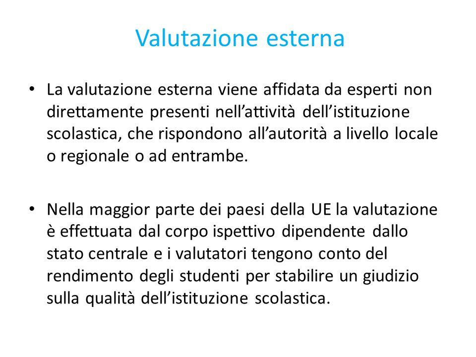 Valutazione esterna La valutazione esterna viene affidata da esperti non direttamente presenti nell'attività dell'istituzione scolastica, che rispondono all'autorità a livello locale o regionale o ad entrambe.